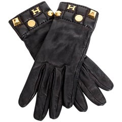 Hermes Medoru Black Leather Gloves