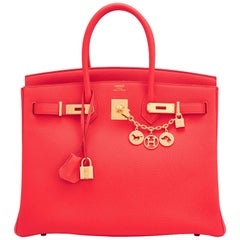 Hermes Capucine Red-Orange 35cm Togo Birkin Bag Gold Hardware
