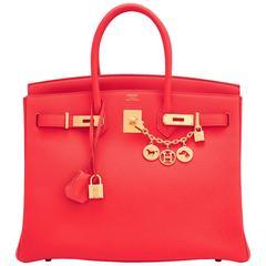 Hermes Capucine Red-Orange 35cm Togo Birkin Bag Gold Hardware