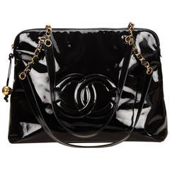 Chanel Black Patent Leather Chain Shoulder Bag
