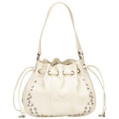 Celine White Studded Leather Shoulder Bag
