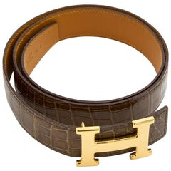 HERMES Belt Size 90FR in Glazed Brown Crocodile Porosus Leather