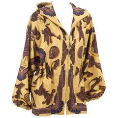 "Vintage Hermes Silk Jacket "" LES PARURES DU VENT "" Gold, Brown & Blue"