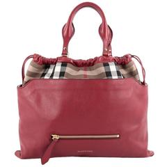 Burberry Big Crush Tote Leather and House Check Canvas Large