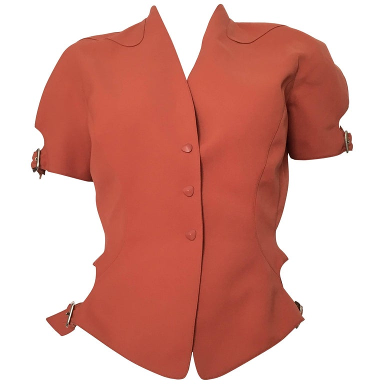 thierry mugler rust short sleeve jacket size 4 for sale