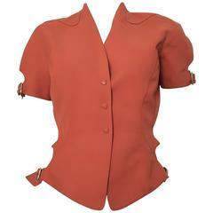 Thierry Mugler 1990s Rust Short Sleeve Jacket Size 4.