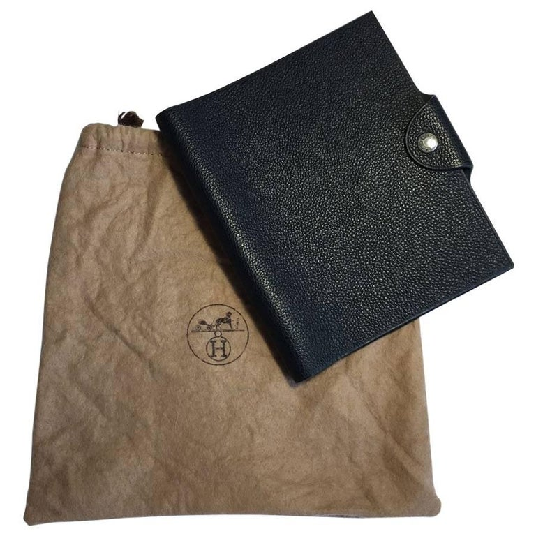HERMES Notebook Cover Small Model in Black Grained Calf Leather