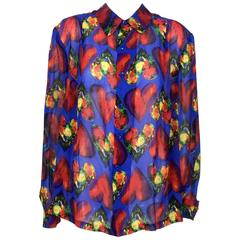 Versace 1997 Ad Campaign Chiffon Heart Shirt