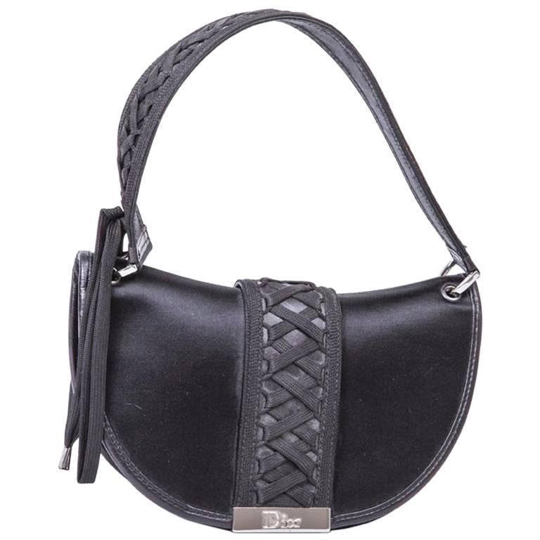 DIOR Bag in Black Silk Satin For Sale