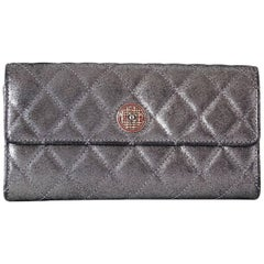 Chanel Wallet Metallic Silver Quilted Leather Paris-Edinburgh