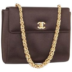 CHANEL Evening Bag in Brown Silk Satin