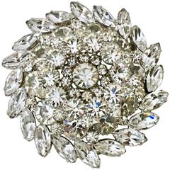 Vintage Monumental Crystal Wreath 3-D Brooch