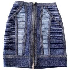 Herve Leger Skirt Faux Denim Bandage  XS mint