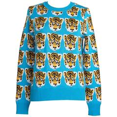 LIBERTINE Sweater Baby Tiger Faces Print Crewneck  M So Charming