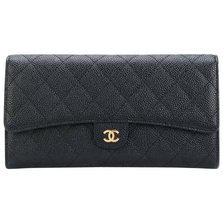 9c399d6476b7 Vintage Chanel Black Quilted Caviar Leather Wallet at 1stdibs