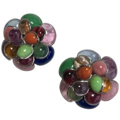 MARGUERITE DE VALOIS Clip-on Earrings in Multicolored Molten Glass