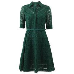Oscar De La Renta Green Eyelet Shirt Dress w/ Belt sz US4 rt. $3,190