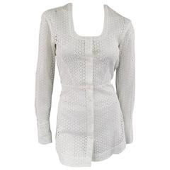 ALAIA Size S White Floral Lace Cutout Cotton Scoop Neck Skirt Blouse