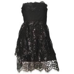 Pamela Dennis 1990s Black Strapless Lace Cocktail Dress Size 4.