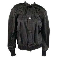LANVIN Size 6 Black Silk Blend Gathered Taffeta Bomber Jacket