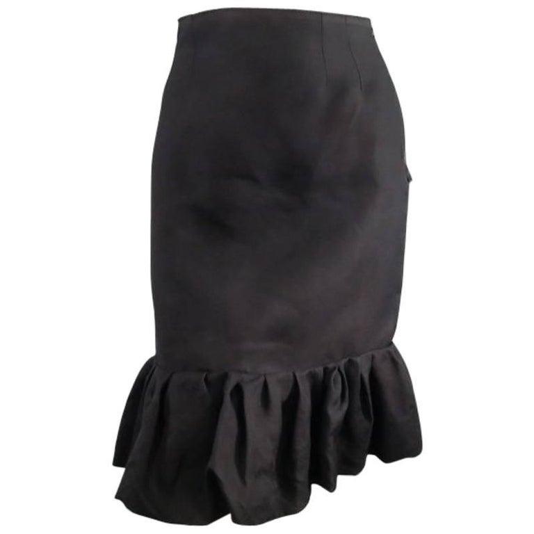 LANVIN Size 6 Black Silk Ruffle Hem Pencil Skirt 2006