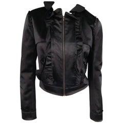 LANVIN Size 8 Black Hammered Satin Cropped Ruffle Jacket