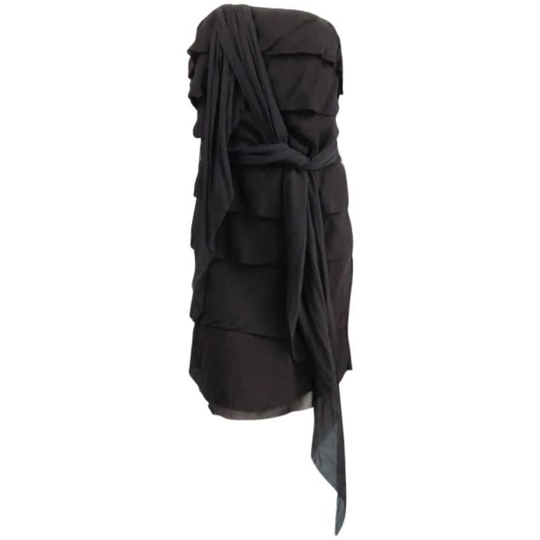 LANVIN Size 8 Black Silk Tiered Ruffle Draped Tie Flounced Cocktail Dress 2007 For Sale