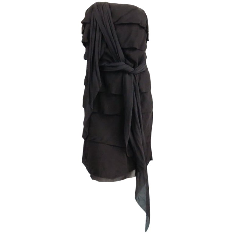 LANVIN 8 Black Silk Tiered Ruffle Draped Tie Cocktail Dress