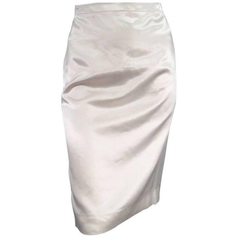 LANVIN Size 8 Cream Satin Pencil Skirt