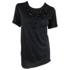 LANVIN Size M Black Sequin Embellished Raw Edge Pullover T Shirt