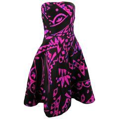 OSCAR DE LA RENTA Size 4 Fuchsia Silk Tie Dye Strapless Cocktail Dress