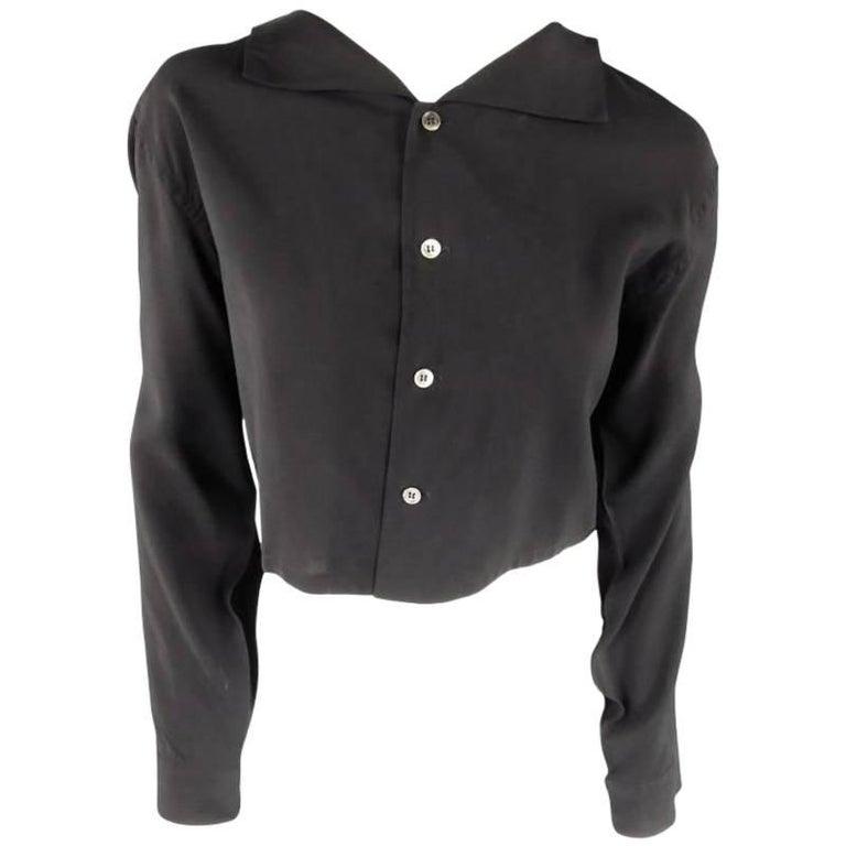 YOHJI YAMAMOTO Size M Black Cropped Ramie Blouse For Sale
