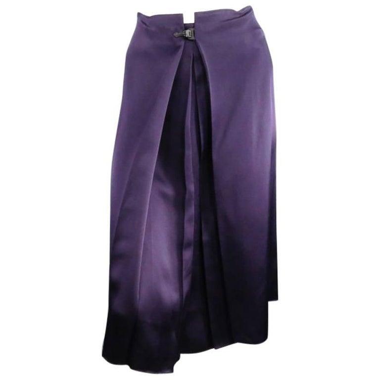 LANVIN Size 6 Eggplant Silk Wrap Pleat Clasp Skirt 2007