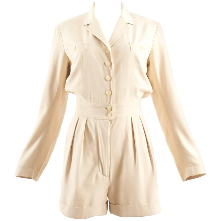 Alaia Spring-Summer 1988 cream cotton playsuit and jacket