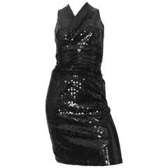 Oleg Cassini 1980s Black Sequin Cocktail Evening Dress Size 4.