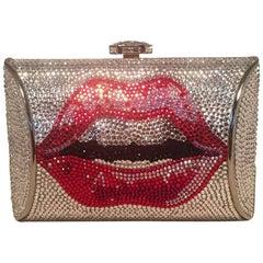 Judith Leiber Swarovski Crystal Lip Print Minaudiere Evening Bag