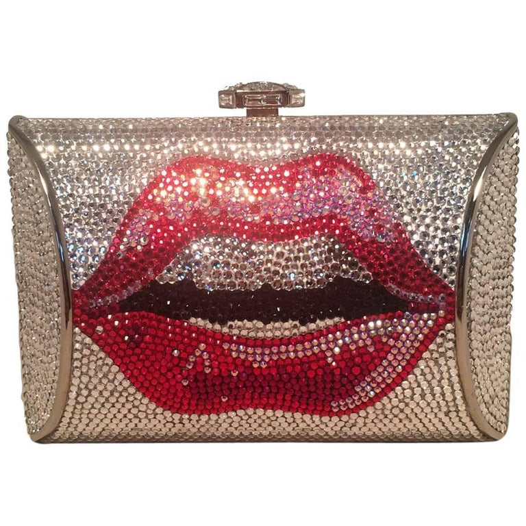 Judith Leiber Swarovski Crystal Lip Print Minaudiere Evening Bag