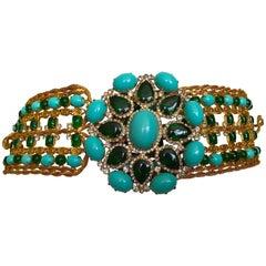 Kenneth Jay Lane Gobsmacking 1960's Faux Turquoise & Emerald Belt