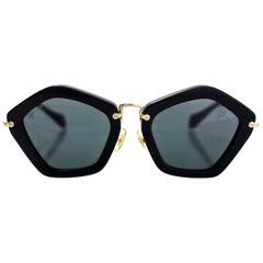 Miu Miu Black and Goldtone Noir Geometric Sunglasses with Case rt. $430