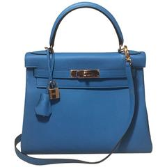 NEW Hermes 28cm Zanzibar Blue Togo Leather Kelly Bag-STUNNING