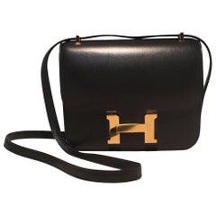 Hermes 18cm Mini Black Box Calf Constance Shoulder Bag