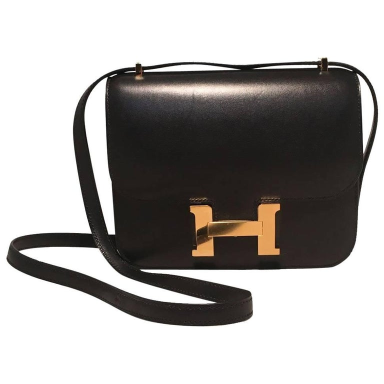 Hermes 18cm Mini Black Box Calf Constance Shoulder Bag