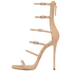 Giuseppe Zanotti New Nude Patent Leather Gladiator Sandals Heels in Box