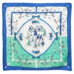 Blue Green Hermes Les Becanes by Hugo Grygkar Silk Scarf