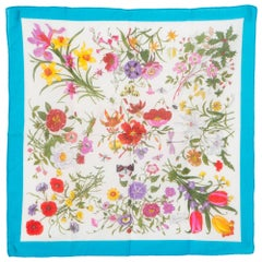 Gucci Flora Printed Cotton Scarf Turquoise Border