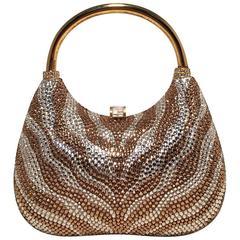 Judith Leiber Vintage Gold Zebra Stripe Crystal Evening Bag Minaudiere