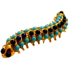 Kenneth Lane KJL Couture Faux Turquoise Lapis Enamel Caterpillar Brooch Pin