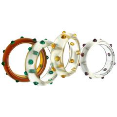 Vintage Bakelite and lucite cabochon bangles