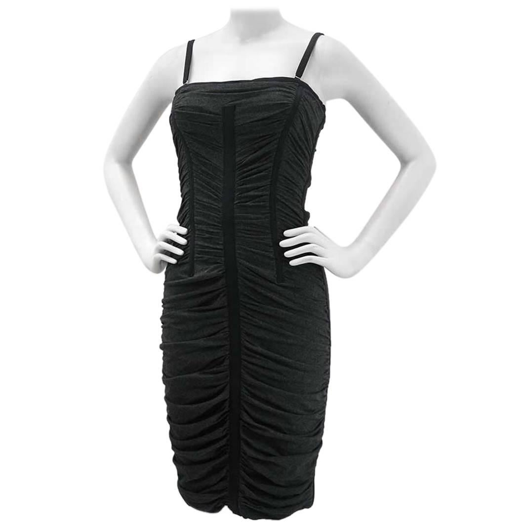Dolce & Gabbana D&G Black and Gray Ruched Corset Dress