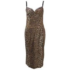 Dolce & Gabbana Satin Leopard Print Dress